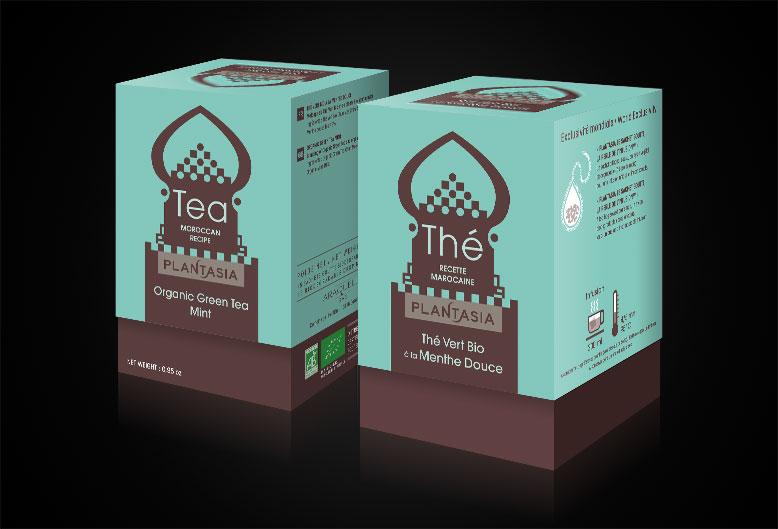 Plantasia - Pack-Menthe-Bio - Logotype et conception de la gamme complète de thé (16 packs)