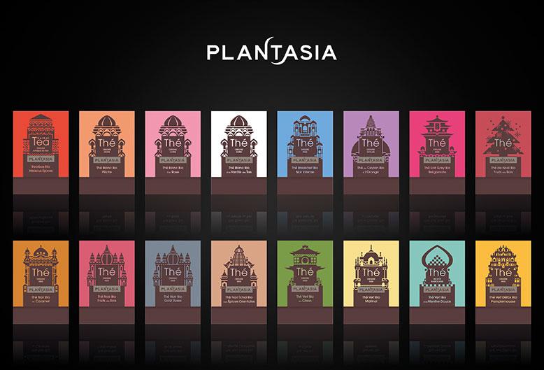 Plantasia - Logotype et conception de la gamme complète de thé (16 packs)